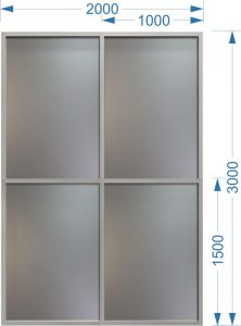 Алюминиевый витраж 2000 х 3000