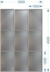 Алюминиевый витраж 3000 х 4500